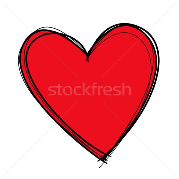 Kalp çizim kırmızı siyah hatları Stok fotoğraf © axstokes