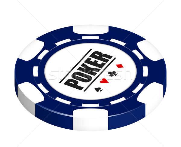Pôquer lasca azul isolado branco Foto stock © axstokes