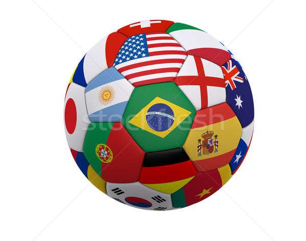Dünya futbol futbol futbol topu bayraklar Brezilya Stok fotoğraf © axstokes