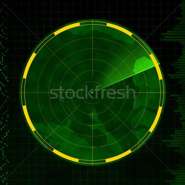 Radar vide écran vert carte fond Photo stock © axstokes