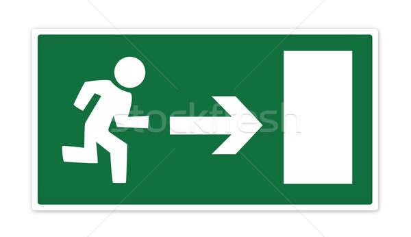 Exit sign grünen Notfall Mann läuft Tür Stock foto © axstokes