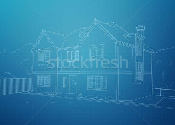 современных дома план белый домой Сток-фото © axstokes