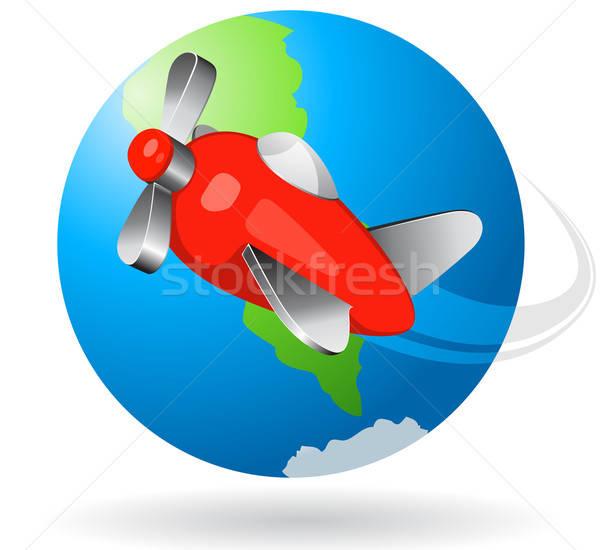 Воздушные путешествия икона путешествия самолет белый облака Сток-фото © ayaxmr