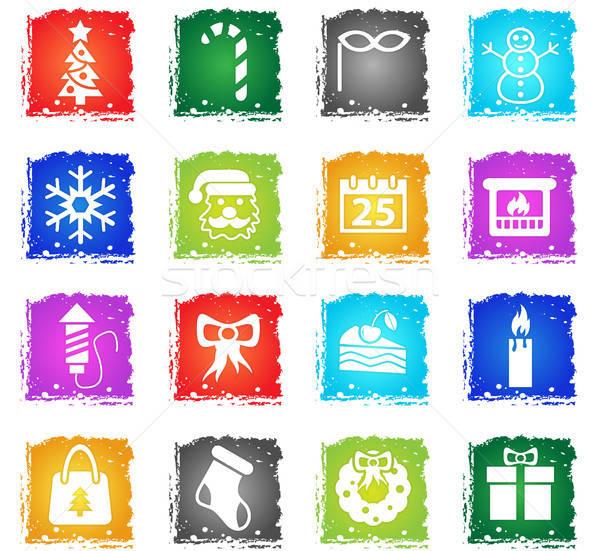 Christmas web icons grunge stijl gebruiker Stockfoto © ayaxmr
