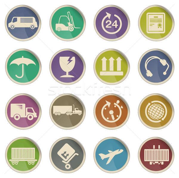 Teher szállítás ikonok címke háló felhasználó Stock fotó © ayaxmr