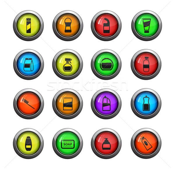Vegyszerek ikon szett szín ikon háló felhasználó Stock fotó © ayaxmr
