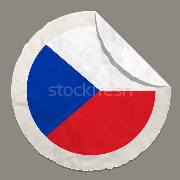 Cseh köztársaság zászló papír címke szimbólum Stock fotó © ayaxmr