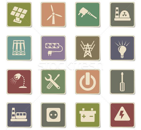 electricity icon set Stock photo © ayaxmr