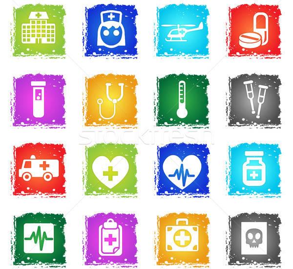 Stok fotoğraf: Tıp · web · simgeleri · grunge · stil · kullanıcı