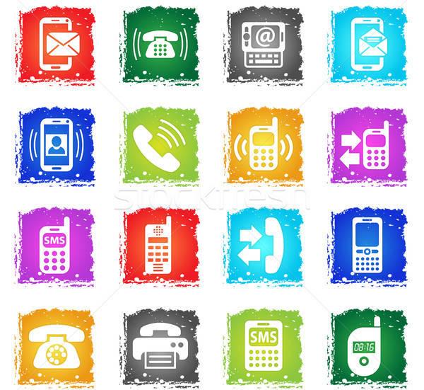phone icon set Stock photo © ayaxmr