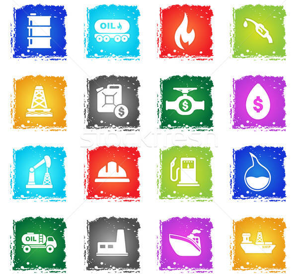 Olie vector web icons grunge stijl Stockfoto © ayaxmr