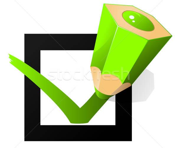 green pen marking on the check box Stock photo © ayaxmr