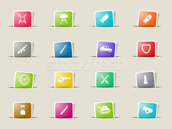 Military simply icons Stock photo © ayaxmr