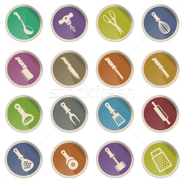 Konyha szerszámok címke ikonok háló felhasználó Stock fotó © ayaxmr