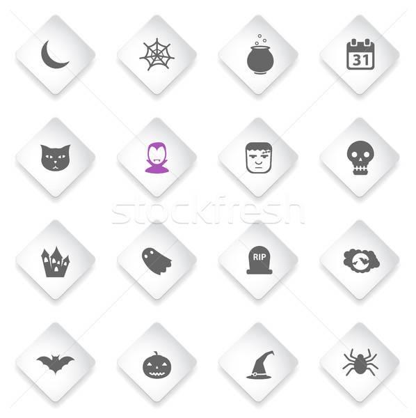 Halloween eenvoudig iconen symbool web icons gebruiker Stockfoto © ayaxmr