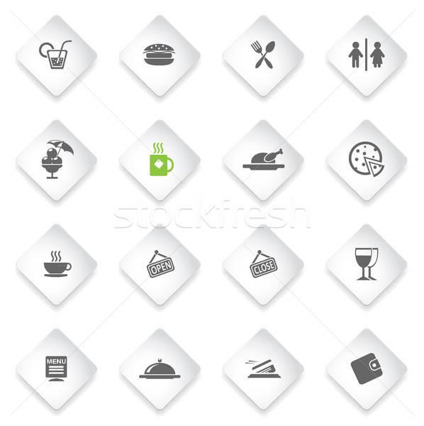 Kávézó egyszerűen ikonok szimbólum webes ikonok felhasználó Stock fotó © ayaxmr