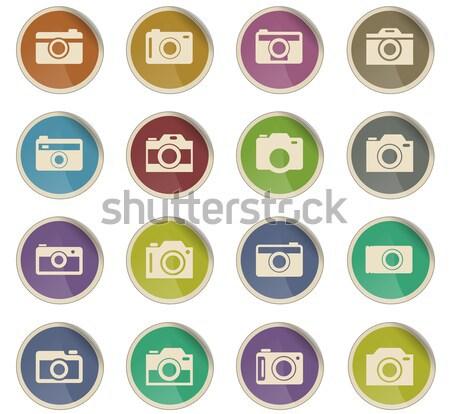 Kamera ikon gyűjtemény webes ikonok grunge stílus felhasználó Stock fotó © ayaxmr