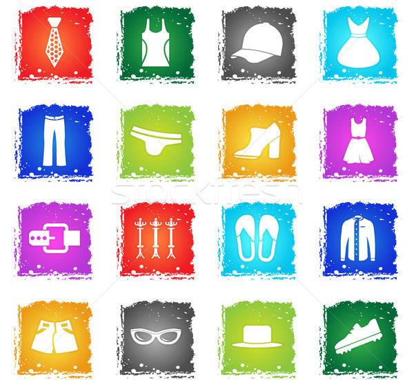 Stockfoto: Kleding · web · icons · grunge · stijl · gebruiker