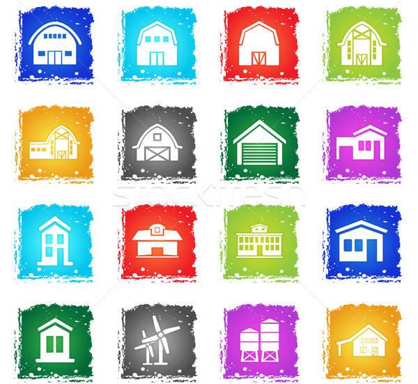 Granja edificio vector iconos de la web grunge Foto stock © ayaxmr