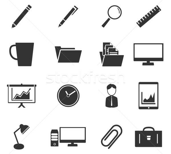 Büro einfach Symbole Symbol Web-Icons Benutzer Stock foto © ayaxmr