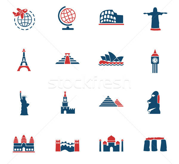 travel and wonders icon set Stock photo © ayaxmr