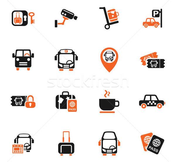 Stock photo: bus station icon set