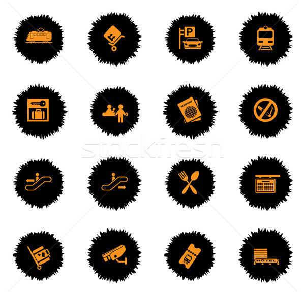 Estação de trem símbolos vetor ícones teia usuário Foto stock © ayaxmr