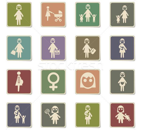 Nő ikon gyűjtemény webes ikonok felhasználó interfész terv Stock fotó © ayaxmr