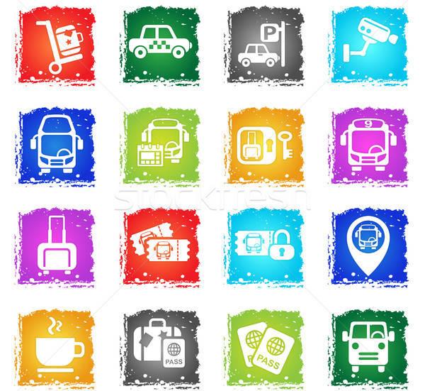 Bus station web icons grunge stijl Stockfoto © ayaxmr