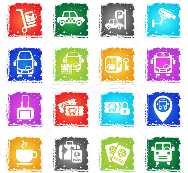 Bus gare icônes web grunge style Photo stock © ayaxmr