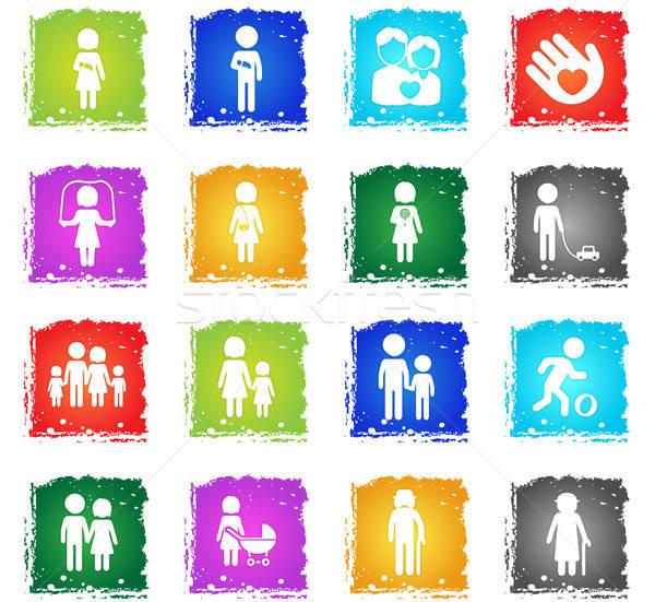 Familia simplemente iconos símbolos grunge estilo Foto stock © ayaxmr