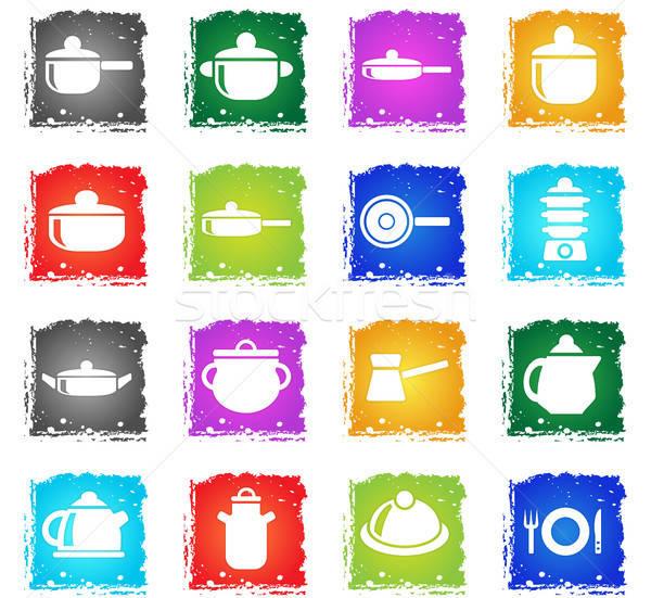 Bulaşık web simgeleri grunge stil kullanıcı Stok fotoğraf © ayaxmr