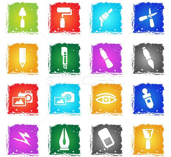 芸術 ツール webアイコン グランジ スタイル ストックフォト © ayaxmr