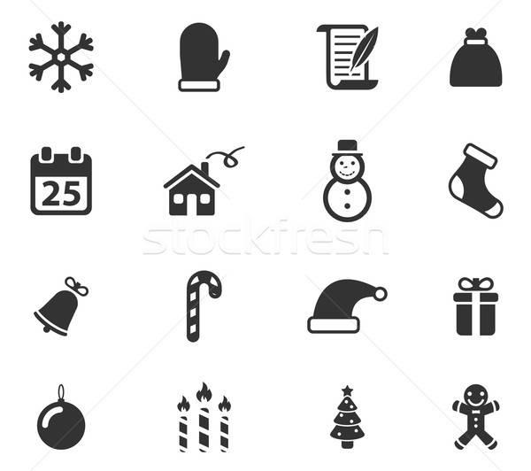 Natale semplicemente icone simbolo icone web utente Foto d'archivio © ayaxmr