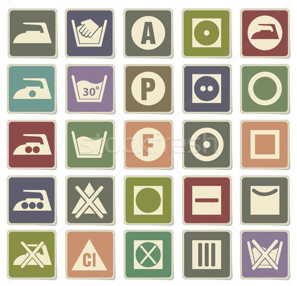 Laundry icons set Stock photo © ayaxmr