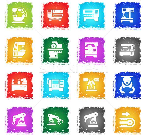 Machine tools vector web icons grunge Stockfoto © ayaxmr