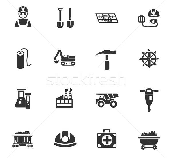 coal industry icon set Stock photo © ayaxmr