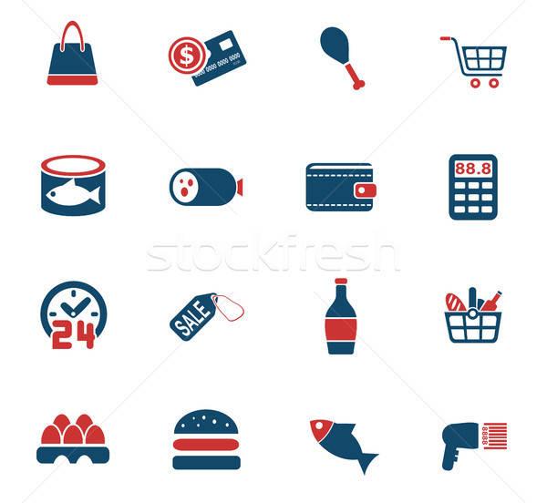 grocery store icon set Stock photo © ayaxmr