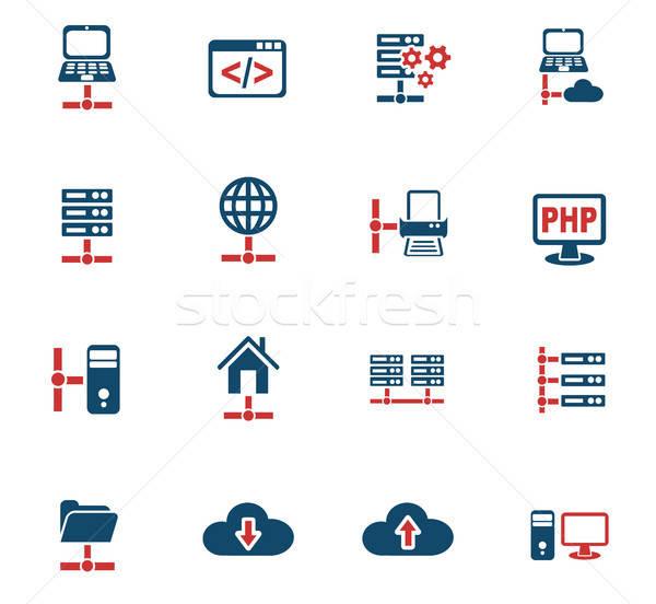 Stock fotó: Szerver · ikon · gyűjtemény · webes · ikonok · felhasználó · interfész · terv