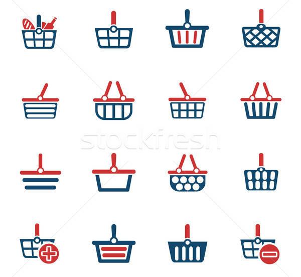 shopping basket icon set Stock photo © ayaxmr