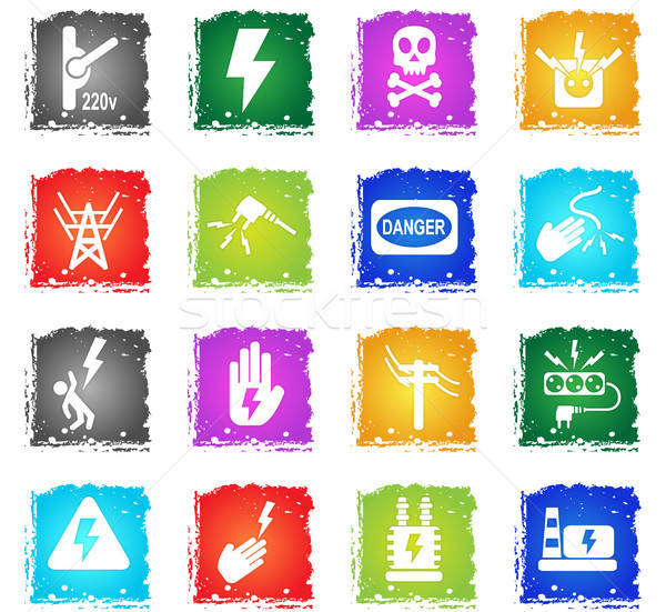 Nagyfeszültség ikon gyűjtemény webes ikonok grunge stílus felhasználó Stock fotó © ayaxmr
