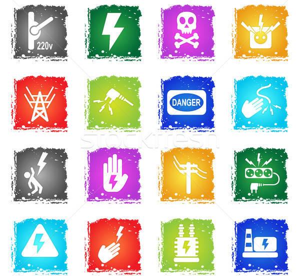 Hoogspanning web icons grunge stijl gebruiker Stockfoto © ayaxmr