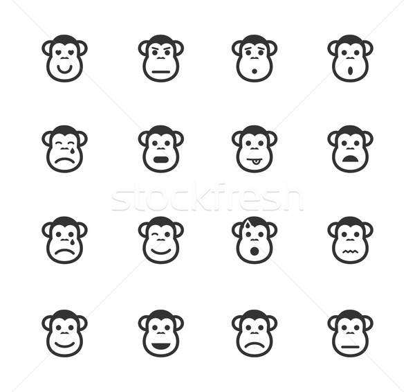 Monkey emotions simply icons Stock photo © ayaxmr