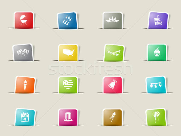 Independence day simply icons Stock photo © ayaxmr