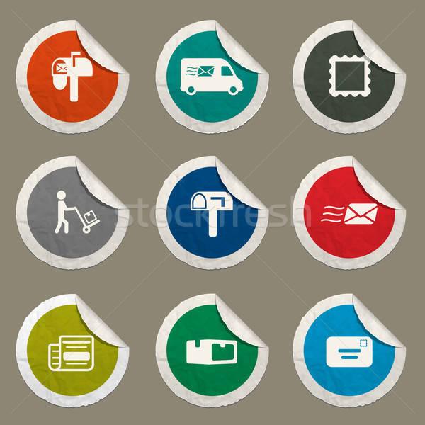 Post dienst eenvoudig iconen web Stockfoto © ayaxmr