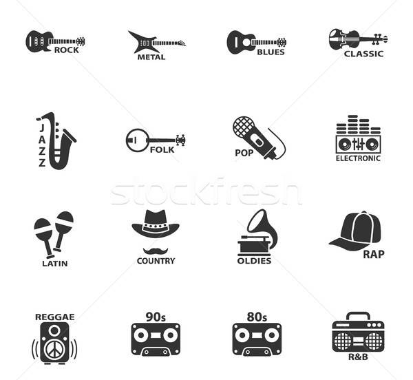 Musical web icons gebruiker interface ontwerp muziek Stockfoto © ayaxmr