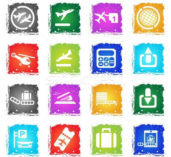 Airport icon set Stock photo © ayaxmr