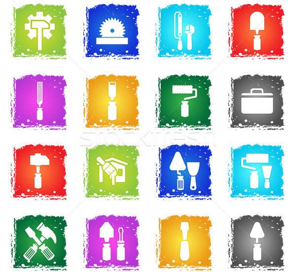 Werk tools web icons grunge stijl Stockfoto © ayaxmr