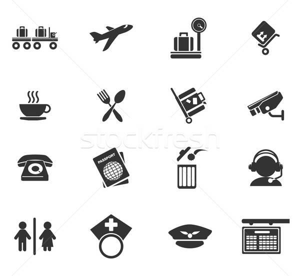 Aeroporto ícones simplesmente símbolos teia usuário Foto stock © ayaxmr