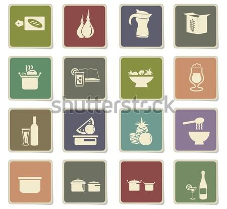 Alimentos cocina simplemente iconos web Foto stock © ayaxmr
